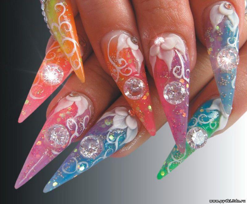 Дизайн ногтей абстракция цветными