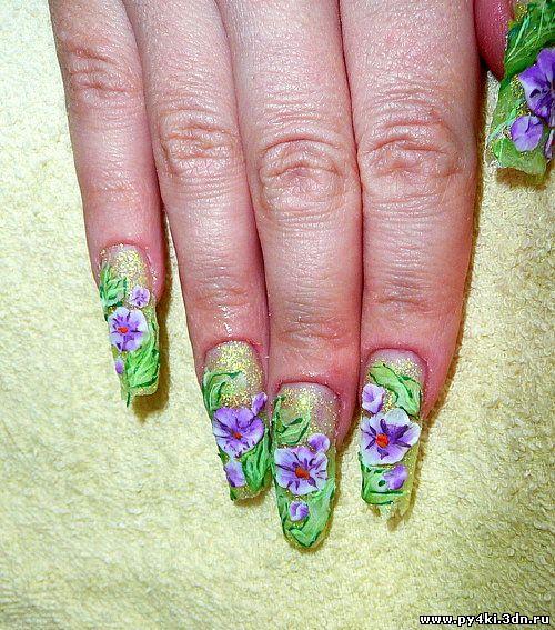 рисунки +на ногтях цветы