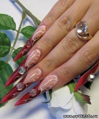 дизайн ногтей формы эйдж: