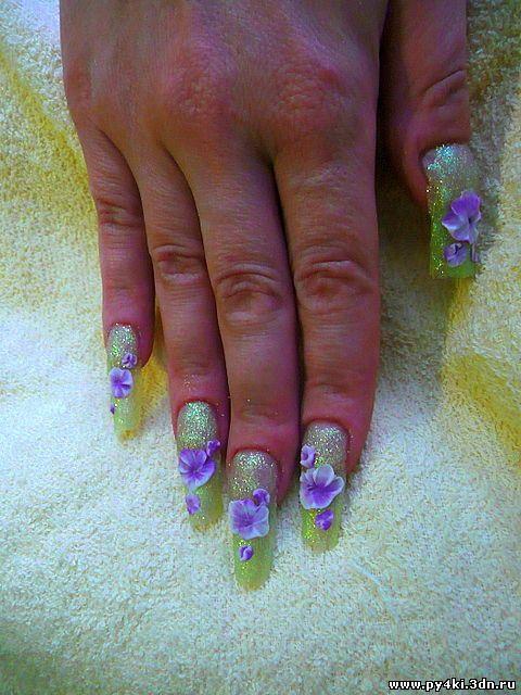 цветы +на ногтях