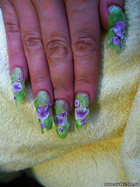 цветок +на ногтях