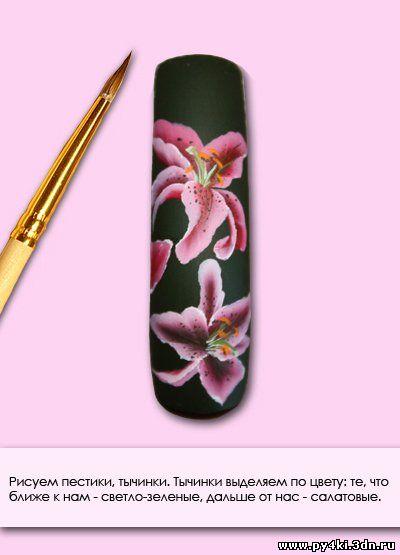 Китайская роспись на ногтях роза
