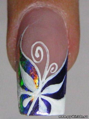Фото как рисовать на ногтях бабочку