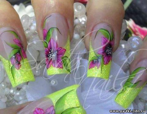 зеленый дизайн ногтей:
