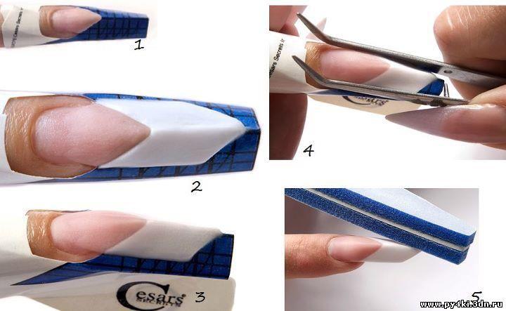 Пошагово наращивание ногтей на формы