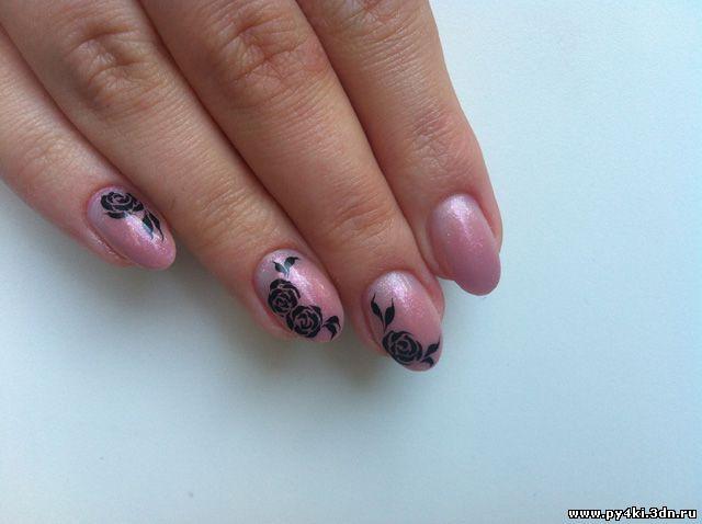 как нарисовать розу на ногтях фото поэтапно