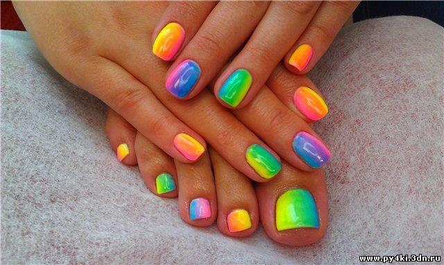 Гель лак на короткие ногти яркие