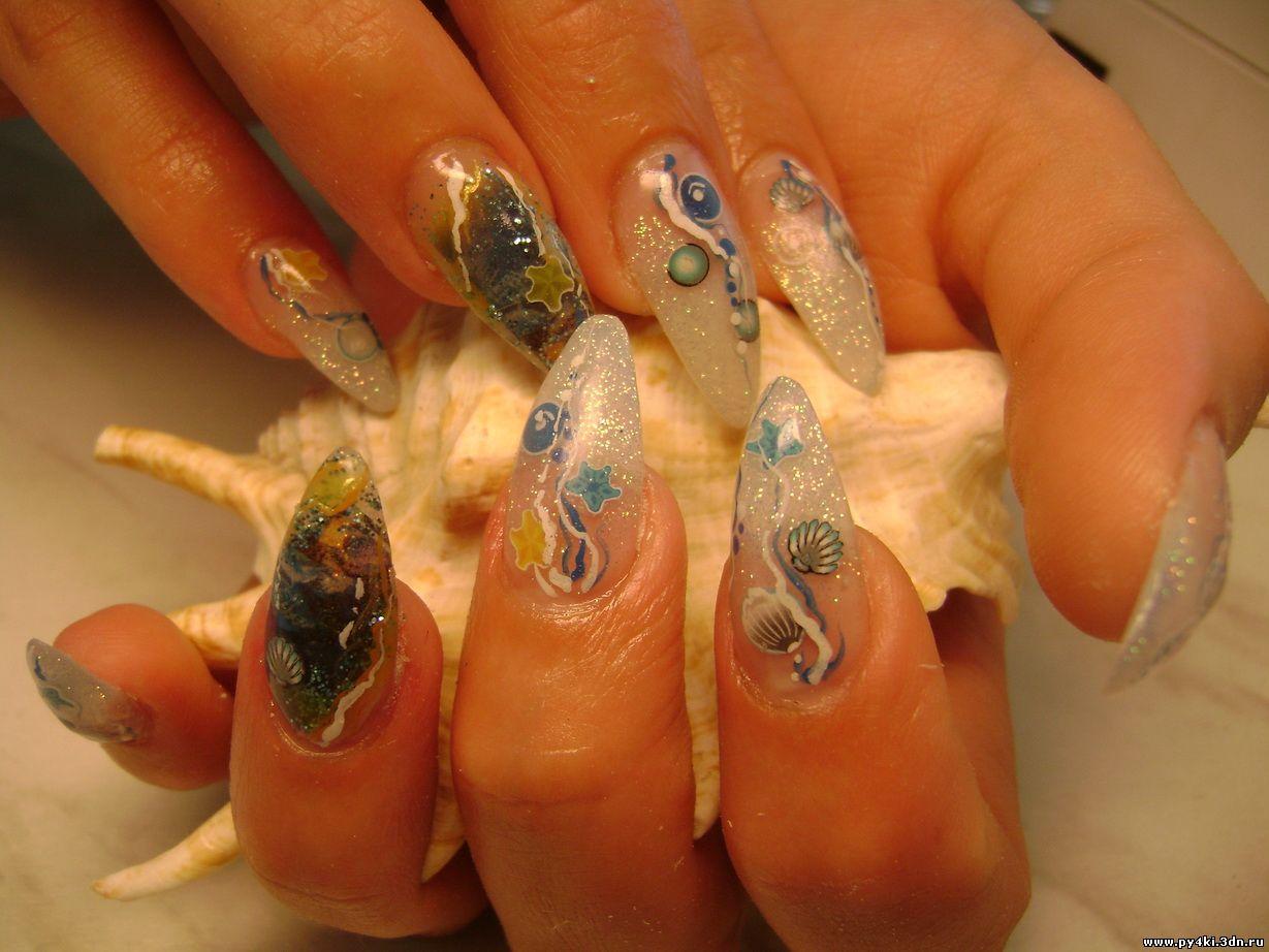 36 фото аквариумный дизайн с блестками. - Дизайн Ногтей