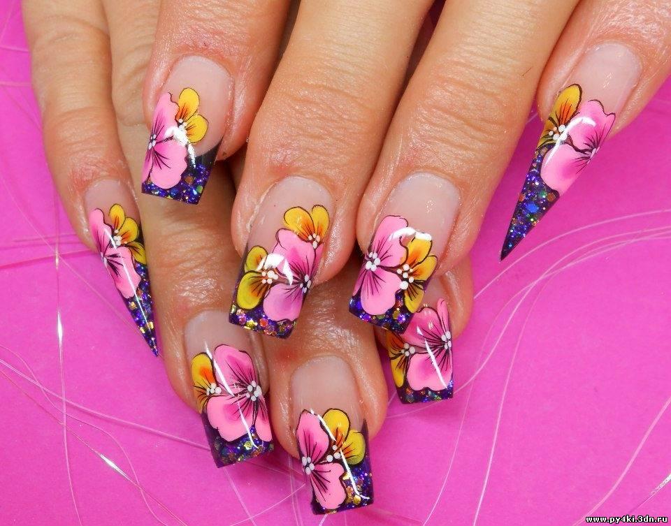 Фото нарощенных ногтей летний вариант