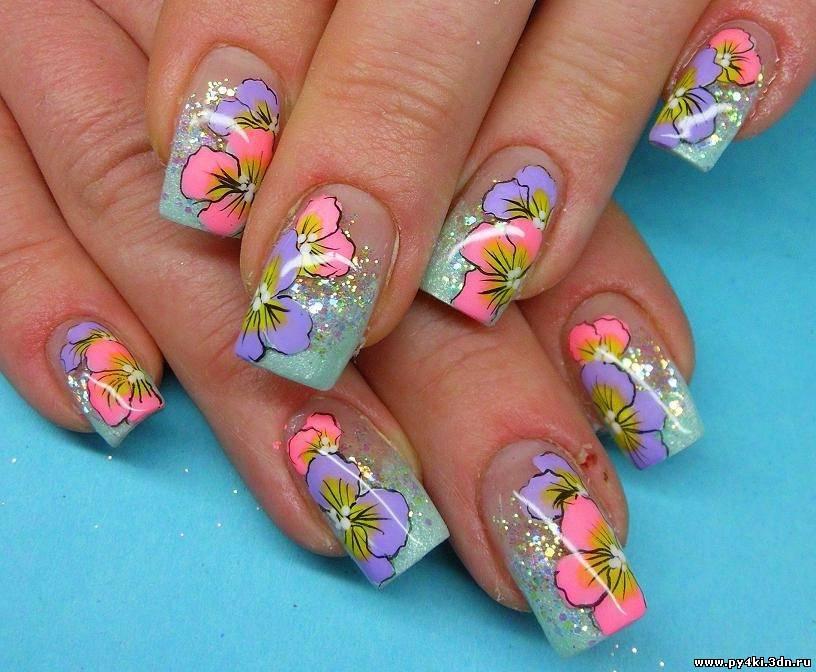 Ногти с летним рисунком